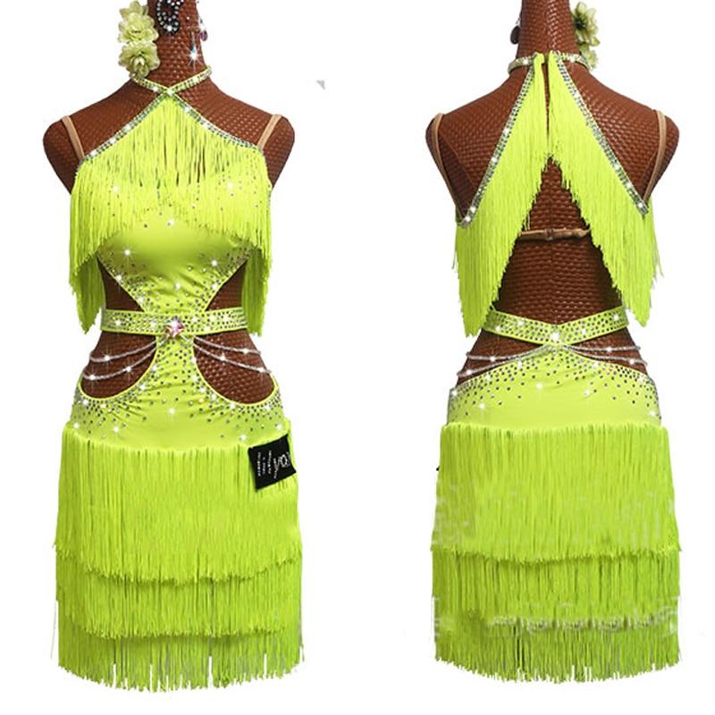 New Latin Dance Dress Women Fluorescent Yellow Dress Rhinestone Chain Performance Outfit Girls Tassel Skirt Salsa Dress BL2632