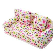 Детский миниатюрный цветочный диван, мини тканевый цветочный принт, диван с подушками, игрушка, кукольный домик, мебель, игрушки для детей, С...