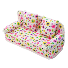 Sofa Cloth Furniture Toys Cushions-Toy Doll-House Family Children's Mini Kids Floral