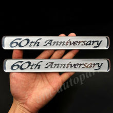 2pcs 60th Anniversary Rear Quarter Panel Auto Car Emblems Badge Decal Sticker