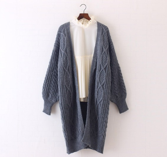 Winter Autumn Long Female Cardigans Latern Sleeve Casual Knitted Poncho Sweaters Oversized Long Cardigans Korean Sueter