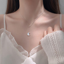 S925 Sterling Silver Necklace for Women Fashion Simple Shell Moon Clavicle Chain Jewelry Accessories Wholesale