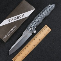 TwoSun Folding Knife EDC D2 Steel Tactical Pocket Knives G10 Camping Outdoor Survival Rescue Defense Hunting cutter Tools TS16