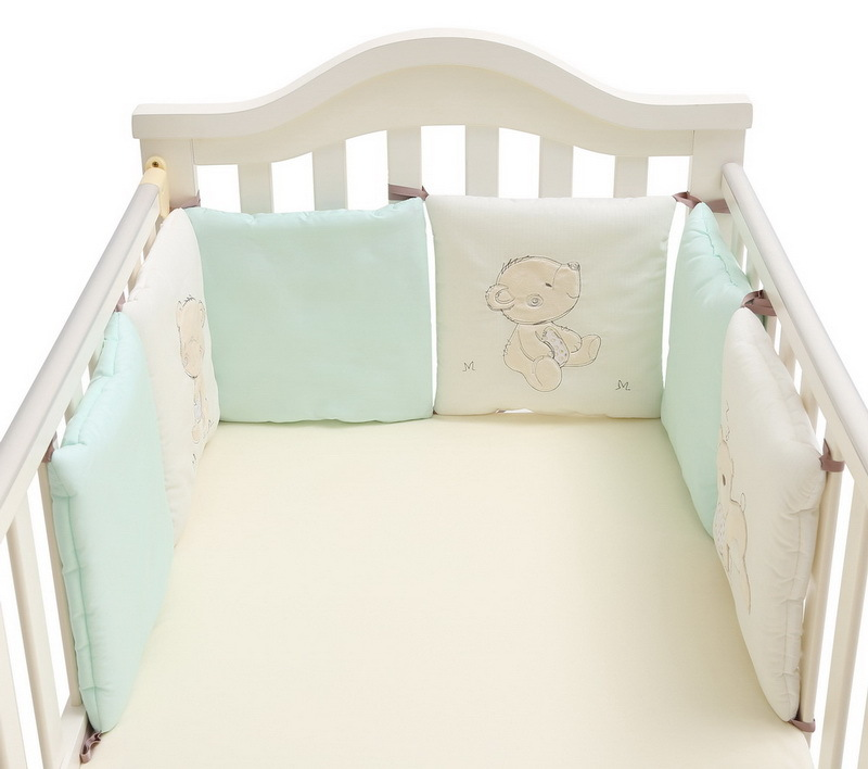 6pcs 30*30cm Bear Plush Bed Protector Baby Kids Cotton Cot Nursery  Cartoon Baby Bedding Set Blue Baby Boy Bedding
