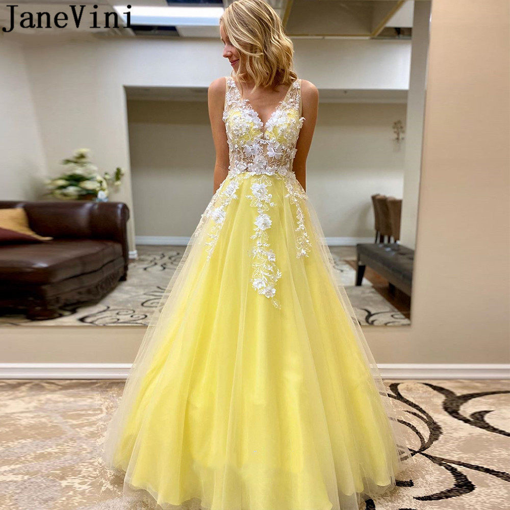 JaneVini Blue Yellow Prom Dresses 3D Flowers Long Transparent Candy Color Lace Pearls Formal Party Gown Backless Tulle Juniors
