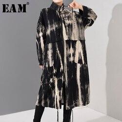 Женский Тренч с принтом EAM, черный свободный Тренч с воротником-стойкой и длинными рукавами, ветровка, весна 2020, 1U80301