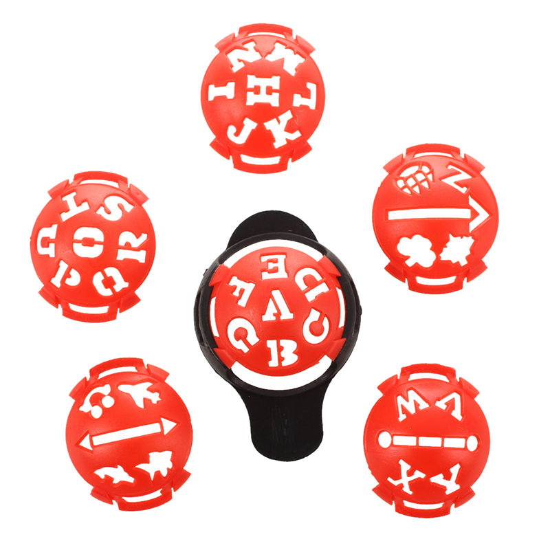 1 X Golf Ball Marker Base With Different Templates - Red And Black