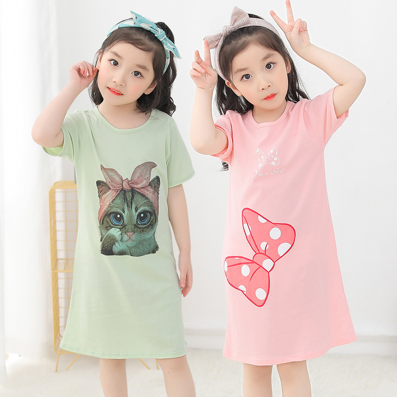 2019 Summer New Style Korean-style Girls Pure Cotton Nightgown Tracksuit Cartoon Loose-Fit GIRL'S Big Boy Dress