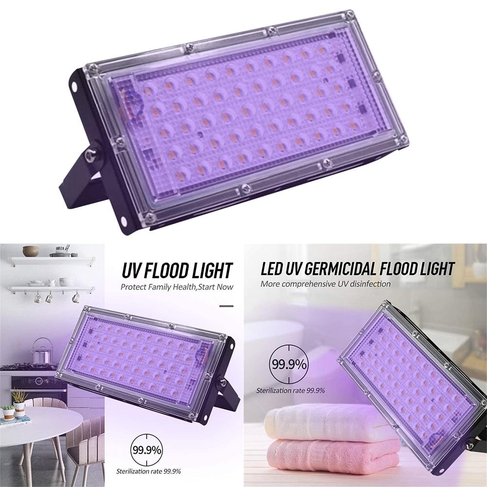 50W LED Flood Light Germicidal Home UV Lamp Light UVC Sterilizer Disinfection Ultraviolet Kill Dust Bacterium Mite Killer