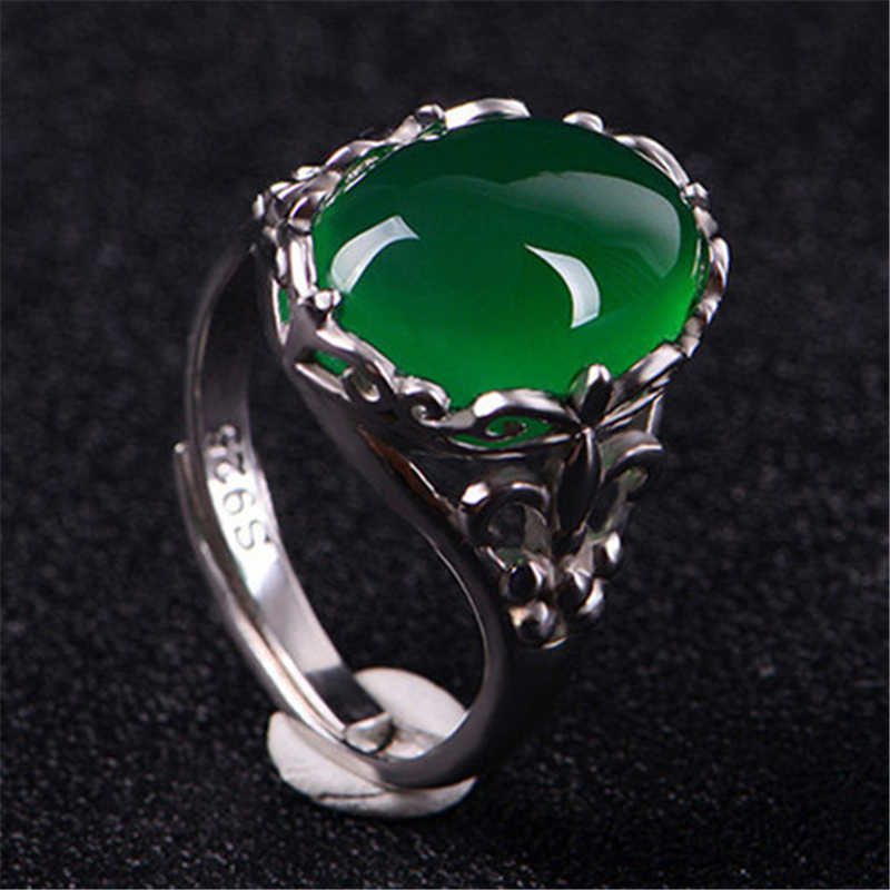 925 Sliver เครื่องประดับมรกตแหวน Topaz สีเขียวอาเกตเปิด Bizuteria Emerald Retro หยก S925 แหวนกล่อง