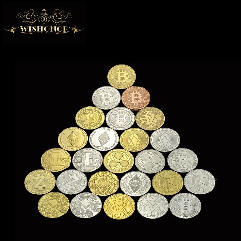 Лидер продаж, Биткоин, эфириум, литекоин, Пульсация, портативная монета, EOS, металлическая физическая серебряная, позолоченная памятная моне...