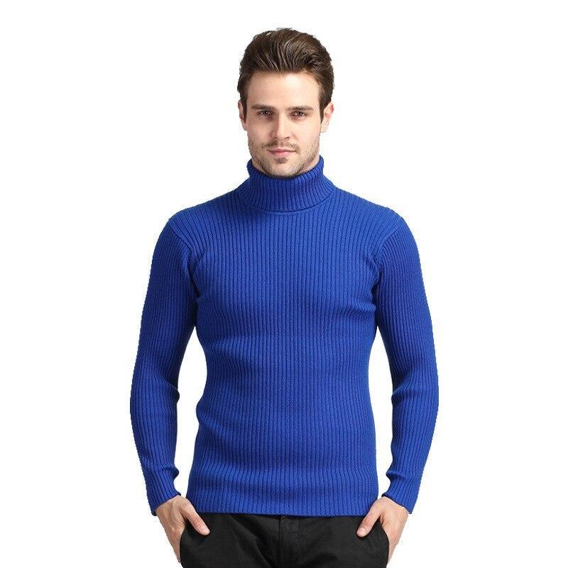 Men's Winter Sweater Gentleman Pullover Sweater Korean-style Solid Color Slim Fit Turtleneck Men Wool Sweater Men 8833