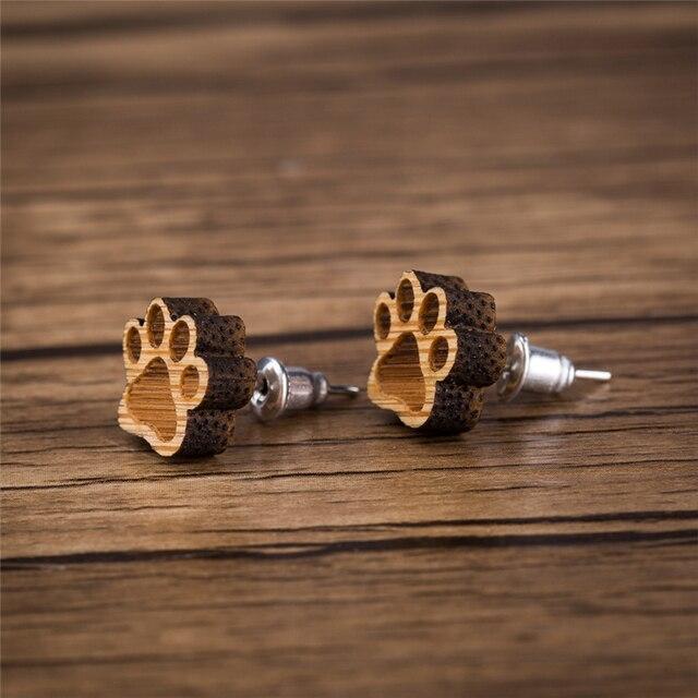 Patte boucles doreilles petites boucles doreilles en bois pour femmes Bijoux Piercing Bijoux Boho minuscule Animal mignon chat boucle doreille
