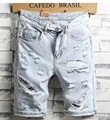 New Summer Men Holes Denim Shorts Light Blue Short Jeans Good Quality Men Knee Length Jeans Shorts Large Size Straight Jeans