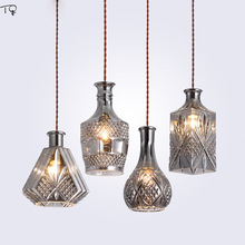 Nordic Individual Glass Bottle Led Pendant Lights Cable Decanter Loft Restaurant Bar Retro Industrial Hemp Rope Lighting Fixture a1 country hemp clothing store creative industries one retro lighting bar the heavenly maids scatter pendant lights gy83