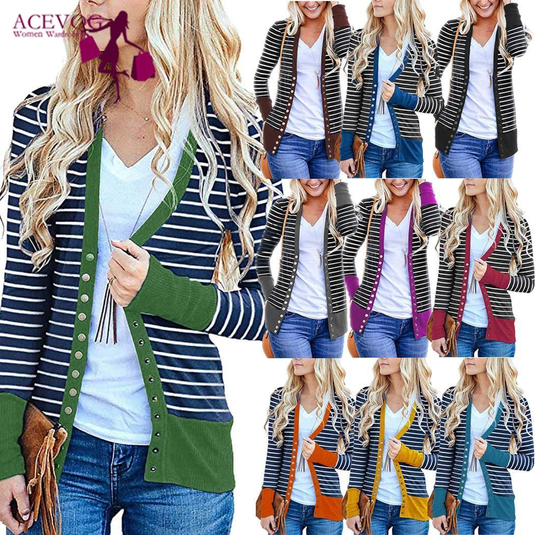 Women Casual Striped Patchwork Long Sleeve Regular Snap Button Down Striped, Cardigan Winter/Spring/Autumn