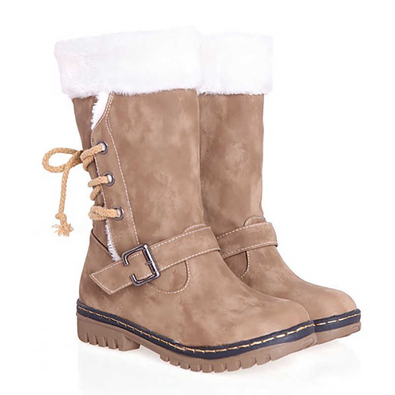 Hot ผู้หญิงหิมะรองเท้าบูทกันน้ำฤดูหนาว WARM หนาขนสัตว์ Plush พื้นรองเท้าแบนรองเท้า LACE-up รองเท้าผู้หญิงขนาดใหญ่ขนาด 34-43