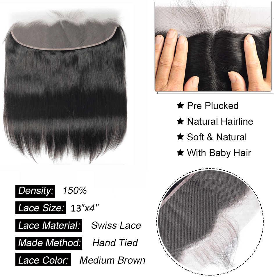 Beaudiva бразильские пучки прямых и волнистых волос с фронтальным закрытием Кружева Фронтальные с пучками человеческих волос для наращивания пучки волос