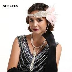 1920s Vintage bandeau pour mariée mariage cheveux décorations perlé élastique bandeau plumes femmes Fanscinators chapeaux BQ020