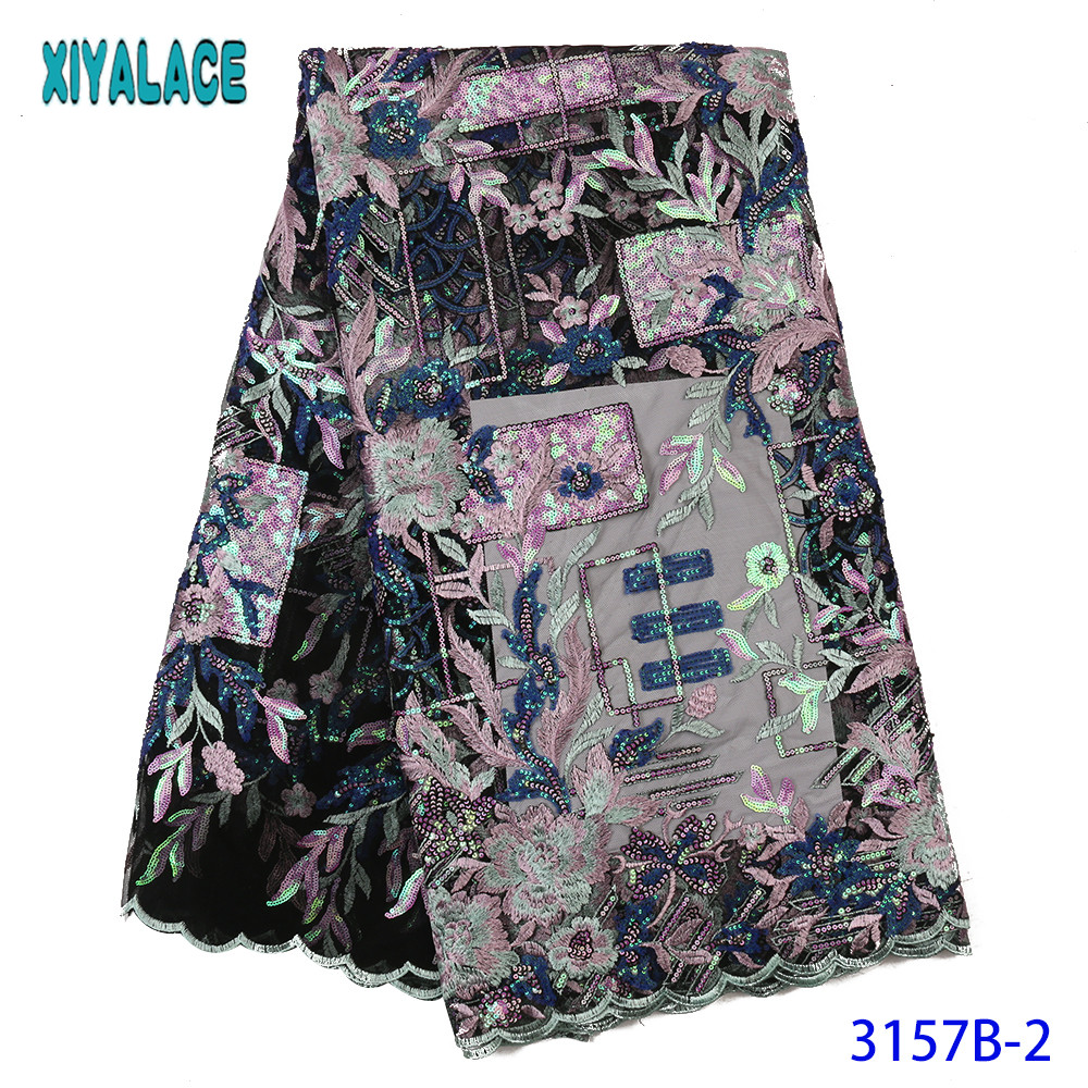 Best Sale Sequin Lace Fabric 2019 Nigerian Lace Fabrics French Laces Fabrics With Colorful Sequence For Dresses KS3157B