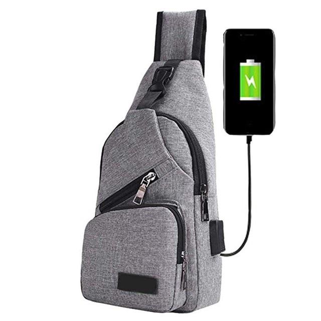 Bag For Men Male Shoulder Bags USB Charging Crossbody Bags Anti Theft Chest Bag School Summer Short Trip Messengers Bag 20