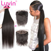 Luvin 28 30 32 40 Inch Peruvian Hair Weave 3 4 Bundles With 13x4 Lace Frontal Closure Remy Natural Straight Human Hair Extension