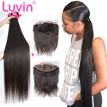 Luvin 28 30 32 40 Inch Peruvian Hair Weave 3 4 Bundles With 13x4 Lace Frontal Closure Remy Natural Straight Human Hair Extension(China)