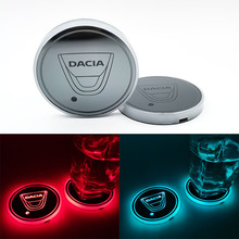 Dacia carro led brilhante copo de água esteira luminosa coaster atmosfera luz para dacia duster logan 2 mcv sandero stepway