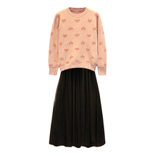 Large Size Ladies Sweaters Two-Piece Clothing Set European Style Gauze Sweater Skirts Outfit Knitwear Pullover Top