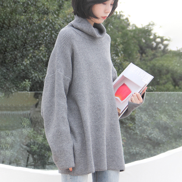 XUXI 2020 Fashion Women's Sweater Autumn Knitted Sweater Women's High Neck Long Sleeve Long Sleeve Sweater Loose FZ0414 8