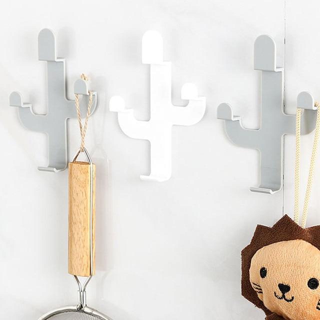 Cactus Shaped Hooks Clothes Hanger Key Holder Wall Mounted Coat Hook Decorative Hat Scarf Handbag Storage 2