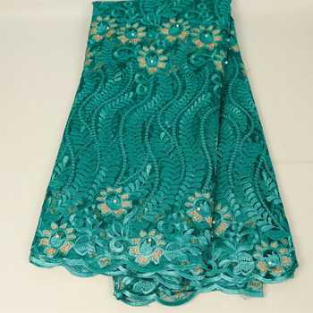 High Quality Green African Beaded Lace Fabric 2019 French Voile Lace for Wedding Party Embroidered Nigerian Lace Fabrics фото