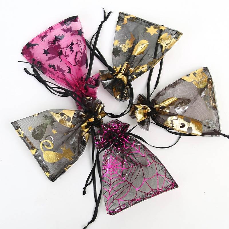 20pcs Halloween Pumpkin Spider Bat Ghost Gift Gift Bag 9 * 12cm Organza Drawstring Bag Festive Party Drawstring Pocket