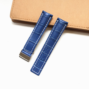 Image 4 - MERJUST 22mm 24mm Black Brown Blue Genuine Leather Watchband Wristband For Breitling Avenger Navitimer Watch Strap Wristband