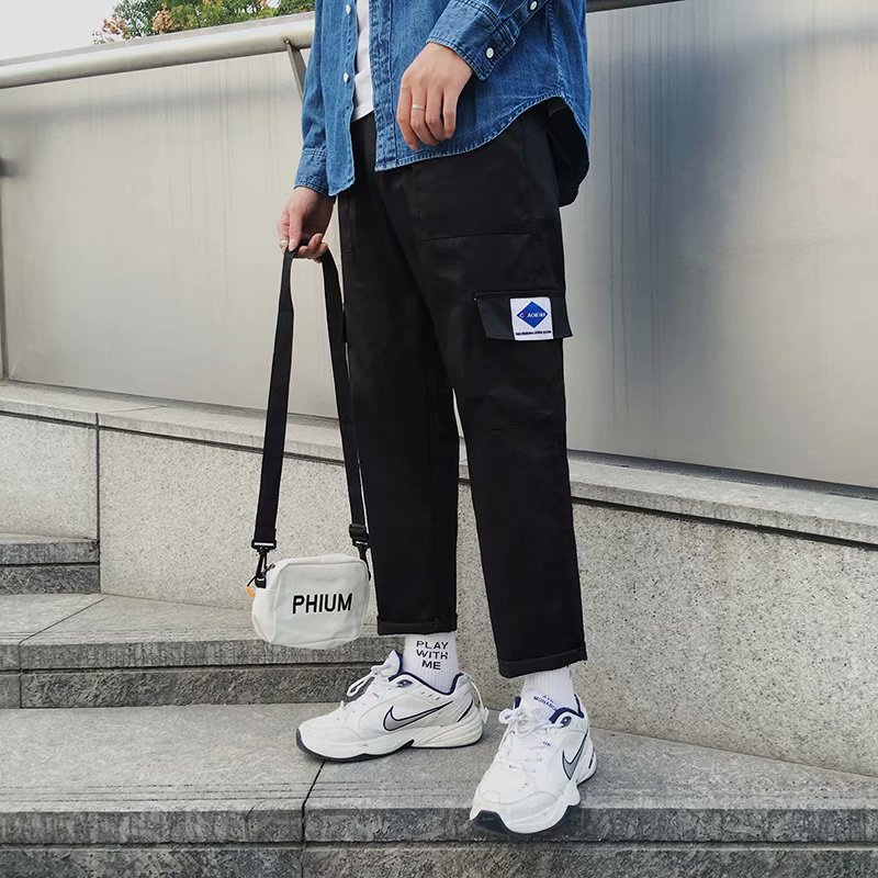 Bib Overall Men Popular Brand Casual Pants Korean-style Youth Loose Straight Versatile Students Casual Autumn Trousers