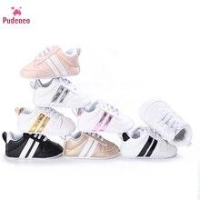 Бренд Pudcoco мягкий полосатый мальчиков теннисные туфли Детская обувь Девочка 1 год спортивные кроссовки первые ходунки младенцы малышей детские тапки