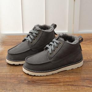 Image 2 - UVWP New Fashion Warm Natural Fur Snow Boots Men Genuine Leather Winter Boots Non slip Mens Shoes Designer Shoes Men Luxury 2020