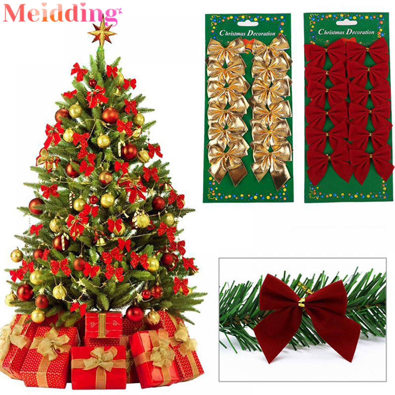Christmas Tree Decorations Gold And Red 2020 1set Gold Silver Red Christmas Bows Christmas Tree Decoration
