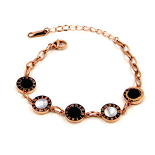 COLOGO New Roman Numeral Bracelet Fashion Design Romantic Black and white seashell Bracelets for Women Jewelry Girl Gifts KA35