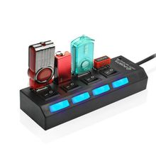 Universal 4 Port USB HUB Multifunction Convenient USB2.0 Splitter With Individual Switch цена и фото