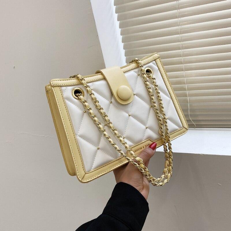 Модная Изысканная брендовая сумка на плечо для женщин 2021, повседневные дизайнерские женские сумки-мессенджеры, женская кожаная однотонная ...