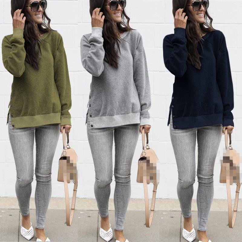 Fashion Nice Women Autumn Long Sleeve Solid Sweatshirts Side Slit With Buttons Pullover Casual O-Neck Female Tops