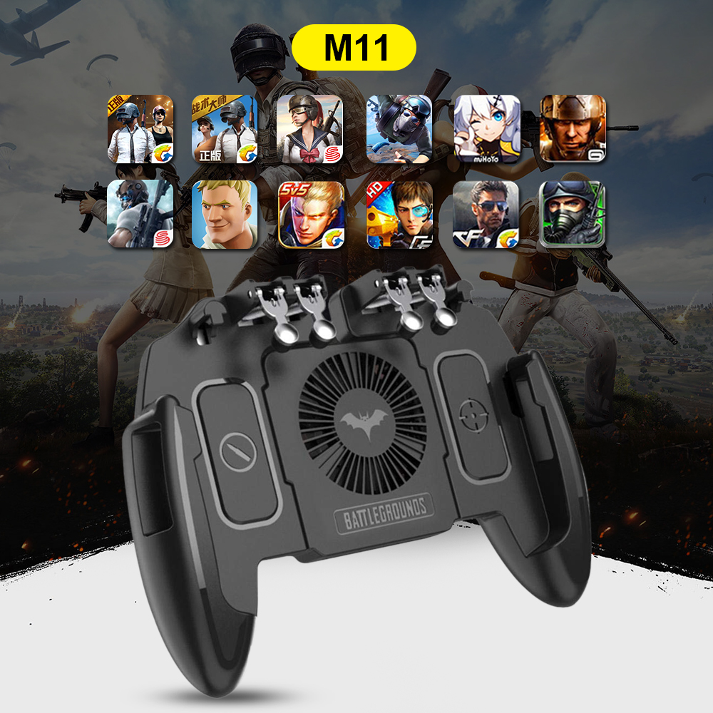 Six Finger PUBG Mobile Game Controller Gamepad Trigger Aim Button L1R1 Joystick For IPhone Android With Cooler Cooling Fan