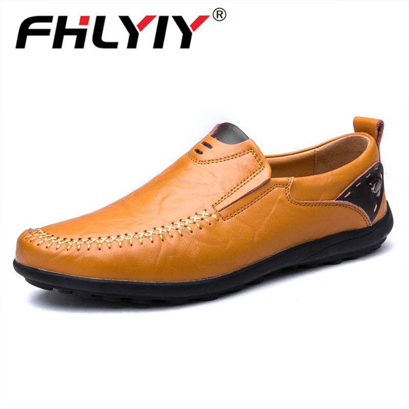 Fhlyiy 38-47 Men'S Shoes Flats Casual Shoe Man Leather Slip-On Loafer Men Comfortable Black Shoes Mens Luxury Designer Loafers