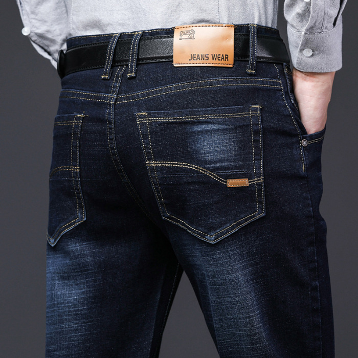 2018 New Style Autumn And Winter Straight-Cut Jeans Men's Business Elasticity Loose Casual Pants Men Thick Large Size Trousers
