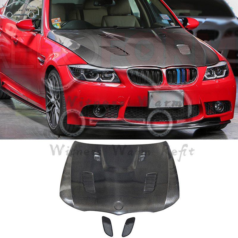<font><b>E90</b></font> High Quality Carbon Fiber Front <font><b>Engine</b></font> Hood Bonnets <font><b>engine</b></font> <font><b>Covers</b></font> For <font><b>BMW</b></font> 3 Series <font><b>E90</b></font> 320i 325i 330i 335i 09-11 image