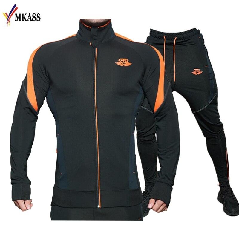 Hot Men's Tracksuit Sets 2020 Spring Autumn Casual Sportswear Patchwork Color Zipper Hoodies + Pants Sporting Sets Man 2XL