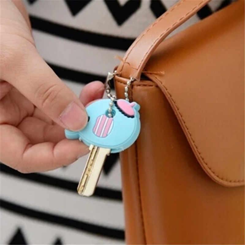 Piękny Cartoon silikonowe ochronne etui na klucze pokrywa dla kontroli klawiatury kurzu osłona z uchwytem animacji dane klucz wisiorek klucz Holder-1PC