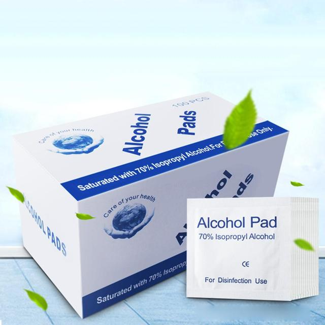 100Pcs Alcohol Pad Disinfection Disposable Cleaning Sterilization First Aid Wipe for Face Mouth Mask