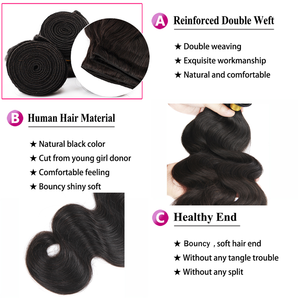 Image 5 - Transparent Lace Body Wave 3 Bundles With Closure 6x6 4x4 Remy Natural Black Color Peruvian Human Hair Middle Free Three Part-in 3/4 Bundles with Closure from Hair Extensions & Wigs